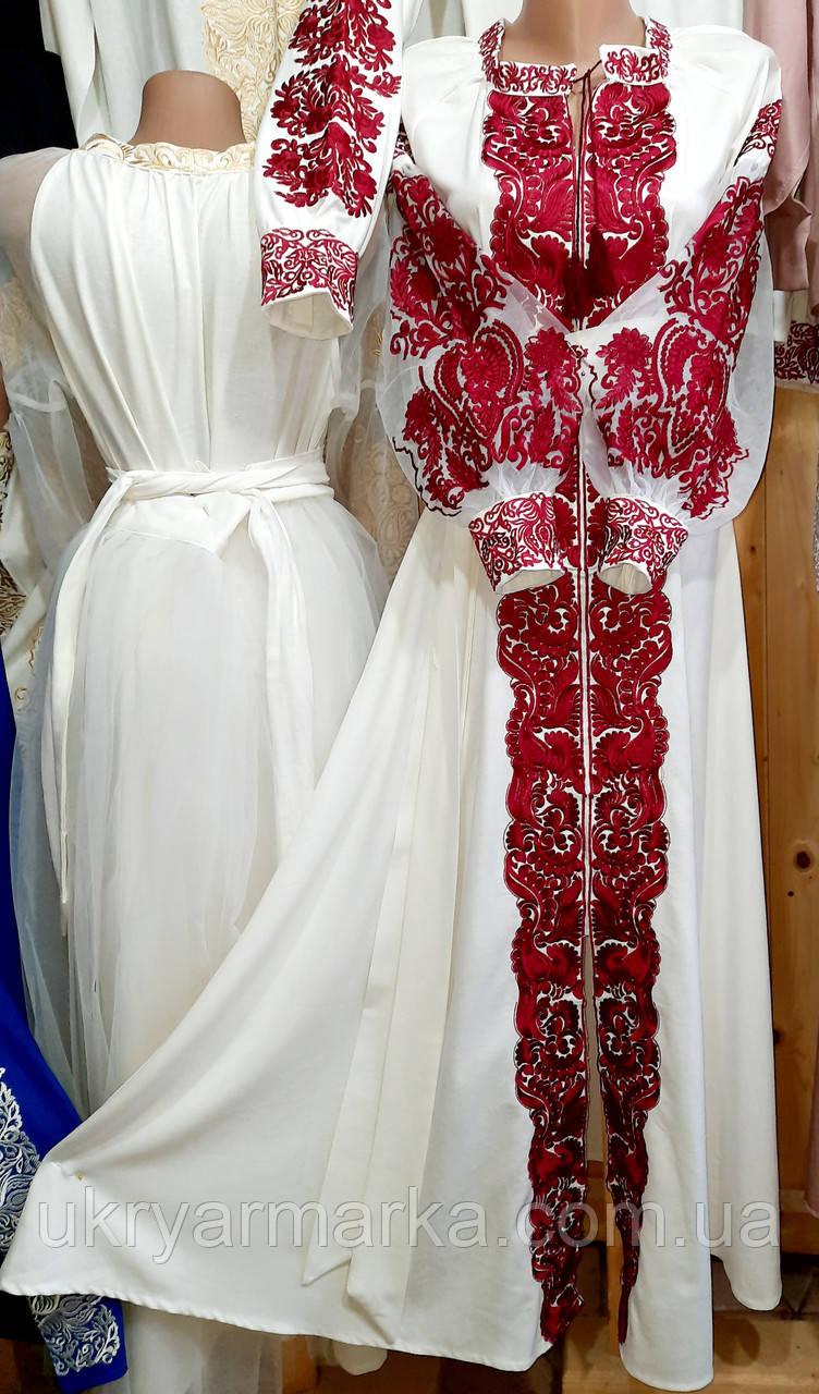 """Розкішна вишита сукня """"Орхідея бордо"""""""