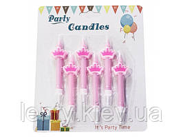 """Набор свечей """"корона"""" ( 6шт) розовая """"princess""""  маленькой принцессе для украшения торта"""