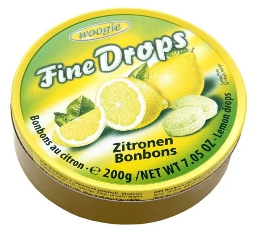 Льодяники Woogie, FINE DROPS, з лимонним смаком, 200г