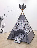 """Детский вигвам , домик, палатка для игры """"Мудрый мурлыка  """" , четырехгранный"""
