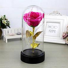 Роза в колбе с LED маленькая Красная и Розовая, фото 3