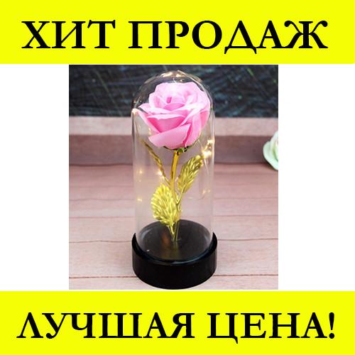 Роза в колбе с LED маленькая Красная и Розовая