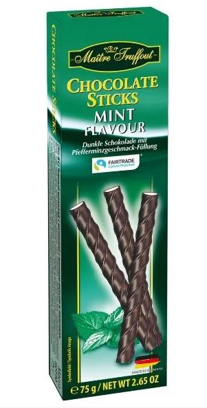 Палички шоколадні Maitre Truffout, м'ята, 75г