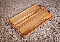 Деревянный поднос прямоугольный с ручками 20х30 см