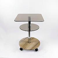 Стол журнальный стекло квадратный Commus Bravo Light400 Kv6 bronza-sequoia-chr50, фото 1