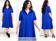Свободное платье миди с воротником поло (3 цвета) АИ/-7120 - Электрик, фото 1