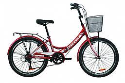 """Велосипед 24"""" Formula SMART 7 с багажником зад St, с крылом St, с корзиной St 2020 (красный)"""