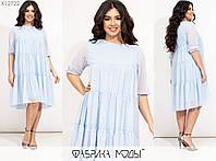 Воздушное шифоновое платье женское трапеция (4 цвета) ЕЕ/-8620/2 - Голубой, фото 1