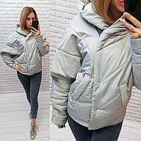 Куртка короткая оверсайз матовая с капюшоном, арт. 187, светло серого цвета/ серая