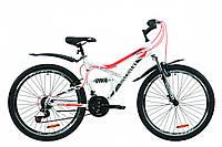 """Велосипед ST 26"""" Discovery CANYON AM2 Vbr с крылом Pl 2020 (бело-черный с оранжевым )"""