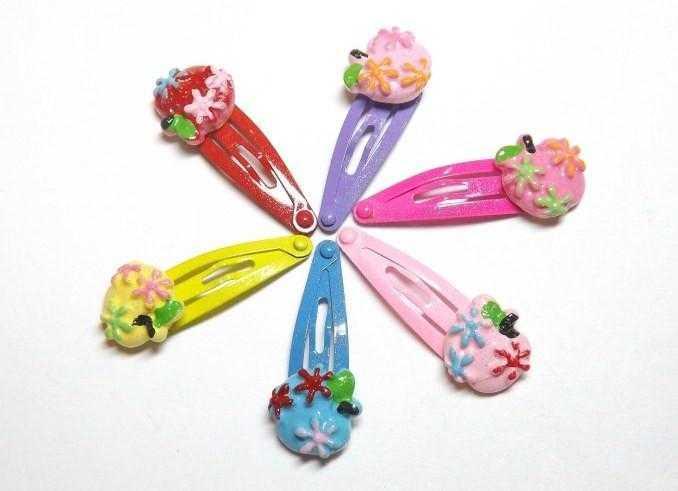 Шпильки для волосся тік-так, різні кольори, яблуко(12 шт) 19_2_39