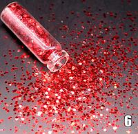 Блестки для ногтей №6 - шестигранник красный
