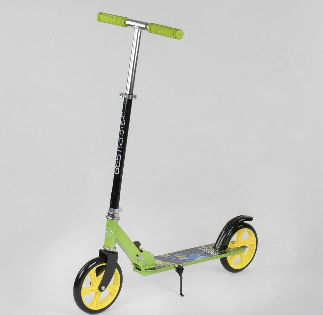 Самокат двухколесный 53396  Салатовый колеса PU d=20см грипсы резиновые длина доски 52см ширина деки