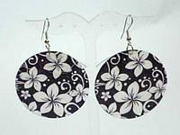 Серьги, черно-белый перламутр, цветы 1_2_15a2
