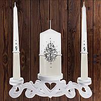 Набор свадебных свечей с камнями, бежевый цвет (арт. CAND-098)