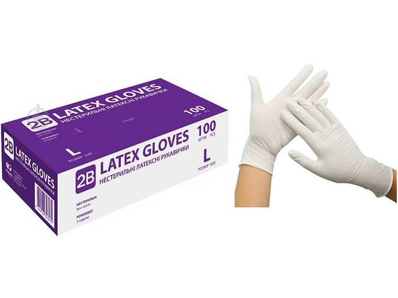 Перчатки латексные Latex Gloves размер M (белые) 100шт., фото 2