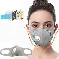 Медицинская маска распиратор с угольным фильтром PM2.5 (многоразовая), серая