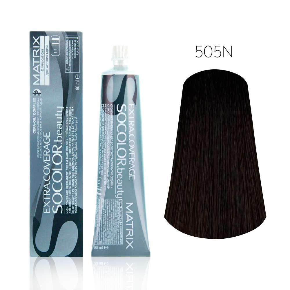 Купить Стойкая крем-краска 100% закрашивание седины Matrix Socolor beauty Extra Coverage 90ml 505N Светлый шатен