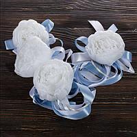 Свадебные украшения на ручки автомобиля (цвет голубой), 4 шт