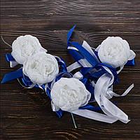 Свадебные украшения на ручки автомобиля (синий цвет), 4 шт