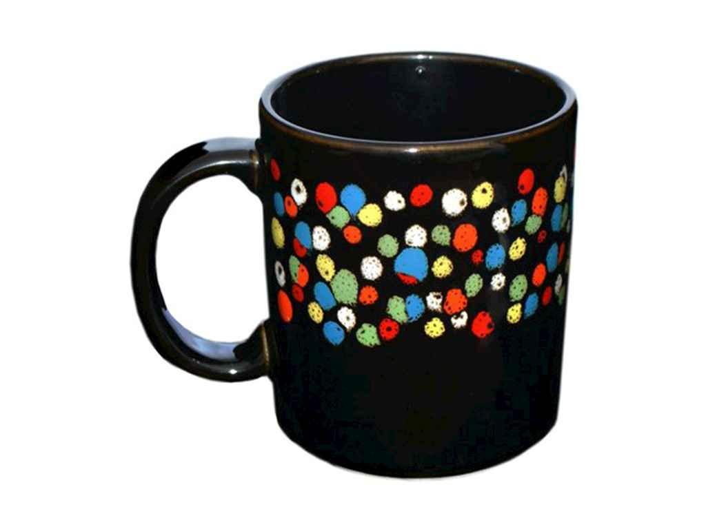Чашка 300мл Офісна повнокольоровий чорний глянсовий малюнок Драже (6шт. в уп.)
