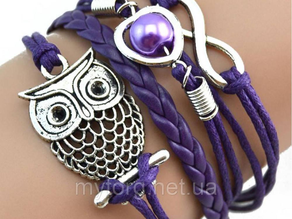 Браслет сова, женский, фиолетовый  Фиолетовый