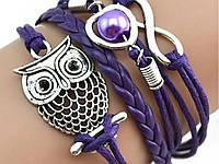 Браслет сова, женский, фиолетовый  Фиолетовый, фото 1