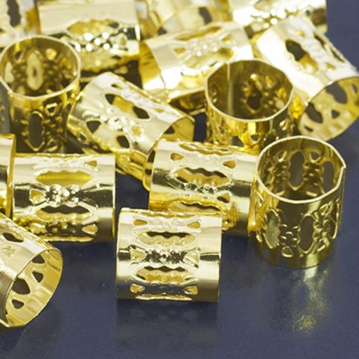 Бусины Трубочки Полые, Железные, Цвет: Золото, Размер: 9х8мм, Отв-тие 7мм/ Упак.: 100 шт