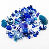 """Бусины Акрил """"Бомбей"""" Смешанные Формы, Цвет: Синий, Размер: 5.5~28x6~20x3~11мм, Отверстие 1~5мм/ Упак.: 50 г"""