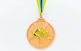 Медаль спортивная с лентой двухцветная d-6,5см Борьба C-4852-3 место (металл, покрытие 2 тона, 56g)