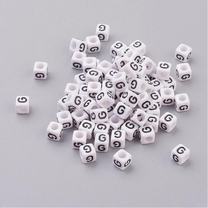 """Бусины Акриловые Буква """"G"""",Кубики, Цвет: Белый, Размер: 6х6х6мм, Отверстие 3.2мм, около 130шт/25г/ Упак.: 25 г"""