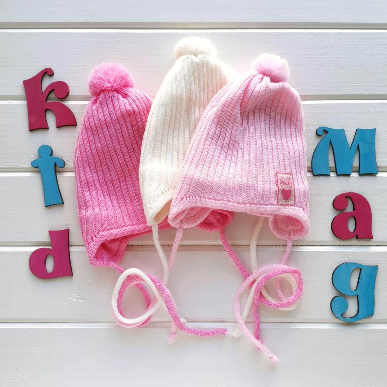 """Демисезонная детская шапка для новорожденных """"Совушка"""" в размере 40-42 см"""
