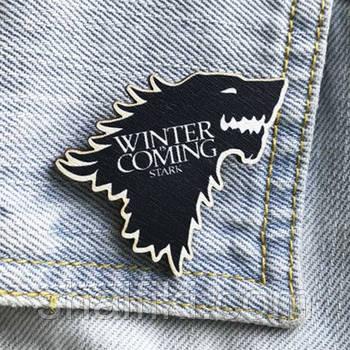 """""""Волк Stark Winter is coming (Игра престолов)"""" брошь деревянная с уф-печатью"""