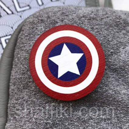 """""""Капитан Америка щит (Марвел)"""" брошь деревянная с уф-печатью"""