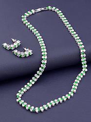 Комплект вечерних украшений с зелёными и белыми фианитами в составе Подвеска женская на шею и серьги родиевое покрытие XUPING