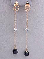 Серьги бижутерия fashion Сrystal позолота 18к