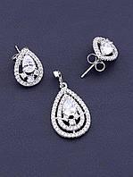 Комплект женских украшений ювелирная бижутерия состав серьги и кулон Фианит родиевое покрытие XUPING