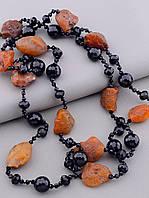 Бусы на шею женские коричневые из натурального камня Сердолик Агат 130 см