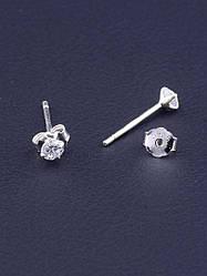 Серьги гвоздики серебро 925 пробы с блестящими фианитами унисекс