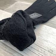 Рукавички унісекс вовняні одинарні з начосом Корона, чорні, 7070, фото 2