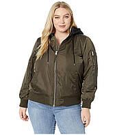 Куртка Levi's& Plus Size Poly Satin Bomber w/ Fleece Hood Green - Оригинал