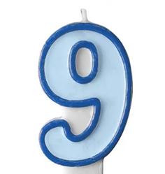 Свеча цифра голубой кант 9