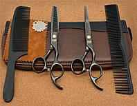 Парикмахерские ножницы в для стрижки волос kasho 5.5 в пенале чёрный цвет