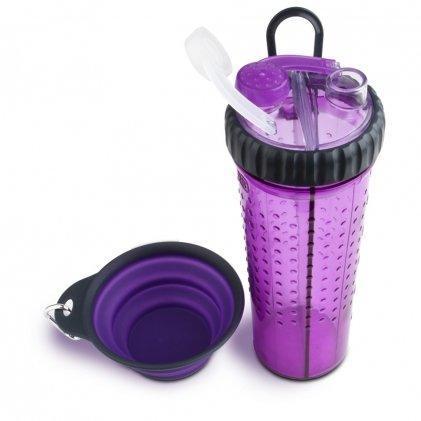 Двойная бутылка Dexas Snack DuO для животных фиолетовая 720 мл