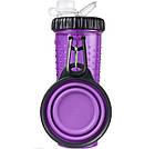 Двойная бутылка Dexas Snack DuO для животных фиолетовая 720 мл, фото 2