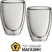 Прозрачный набор стаканов для кофе с резным узором - Kela Cesena 200мл, 2шт. (12411) ( двойные стенки ) - материал стекло