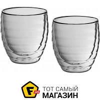 Прозрачный набор стаканов для кофе с резным узором - Kela Cesena 80мл, 2шт. (12410) ( двойные стенки ) - материал стекло