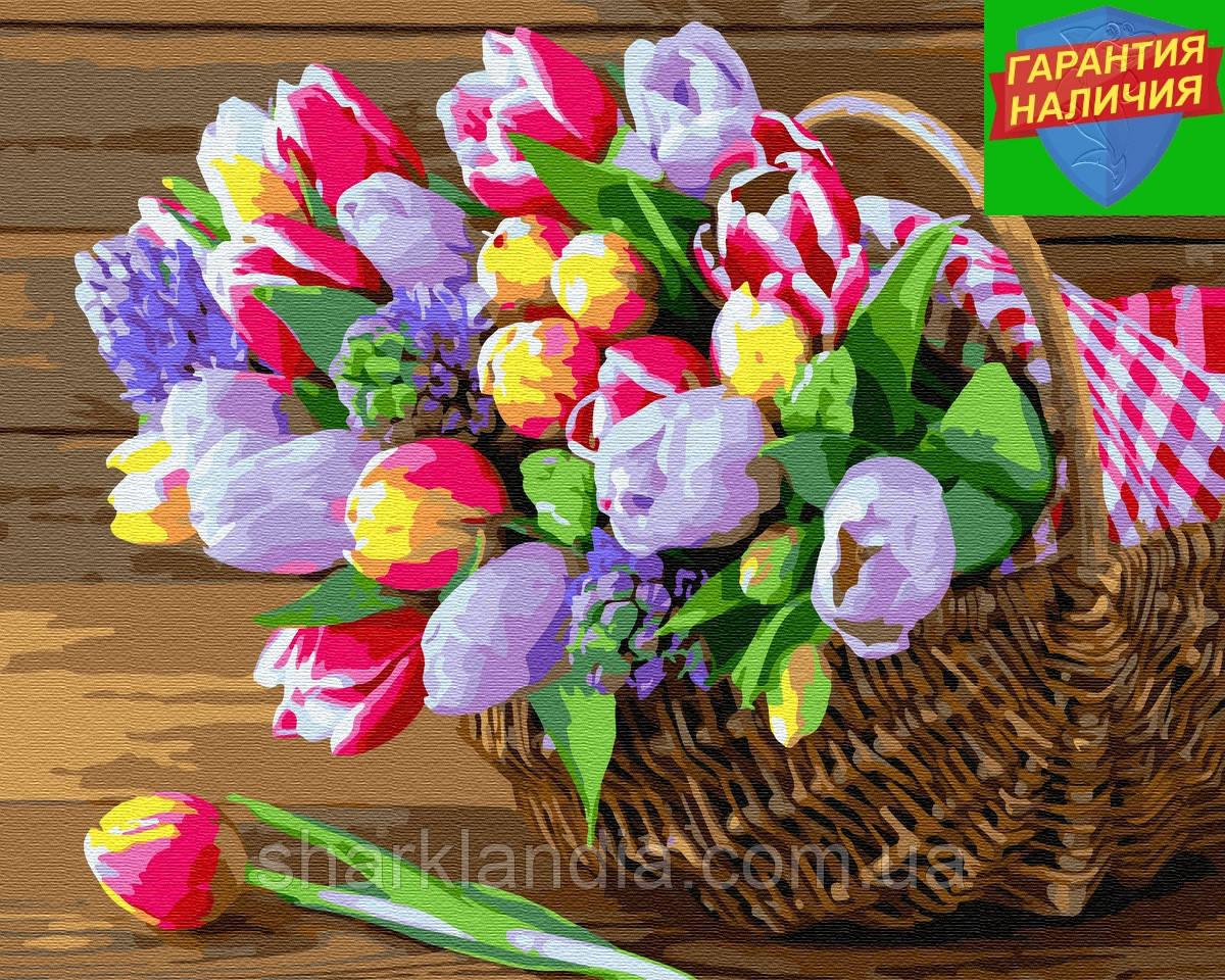 Картина по номерам Весна в корзинке 40*50см Brushme GX34812 Раскраска по цифрам