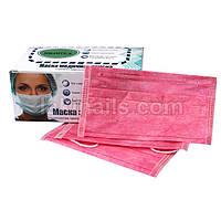 Маска трехслойная розовая на резинке, упаковка 50 шт