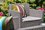 Комплект садових меблів зі штучного ротангу ORLANDO LOUNGE SET графіт ( Allibert ), фото 9